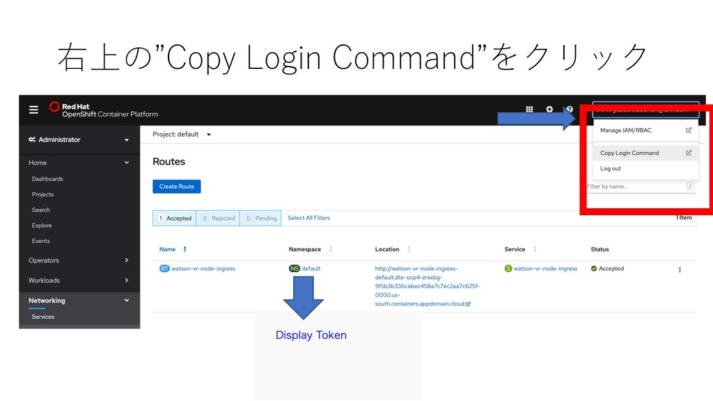 """右上の""""Copy Login Command""""をクリック"""
