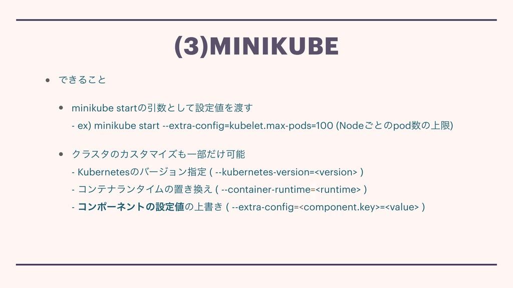 • Ͱ͖Δ͜ͱ • minikube startͷҾͱͯ͠ઃఆΛ͢ - ex) mini...