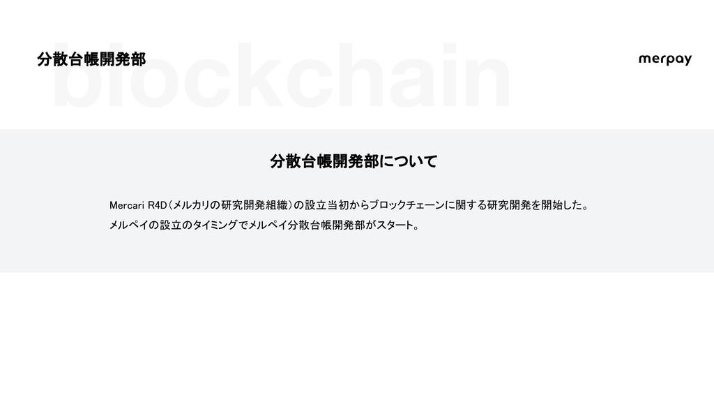 blockchain 分散台帳開発部について Mercari R4D(メルカリの研究開発組織)...