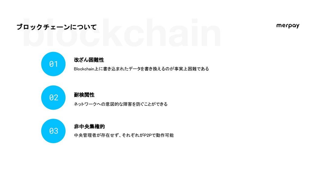 blockchain ブロックチェーンについて 改ざん困難性 01 耐検閲性 02 非中央集権...