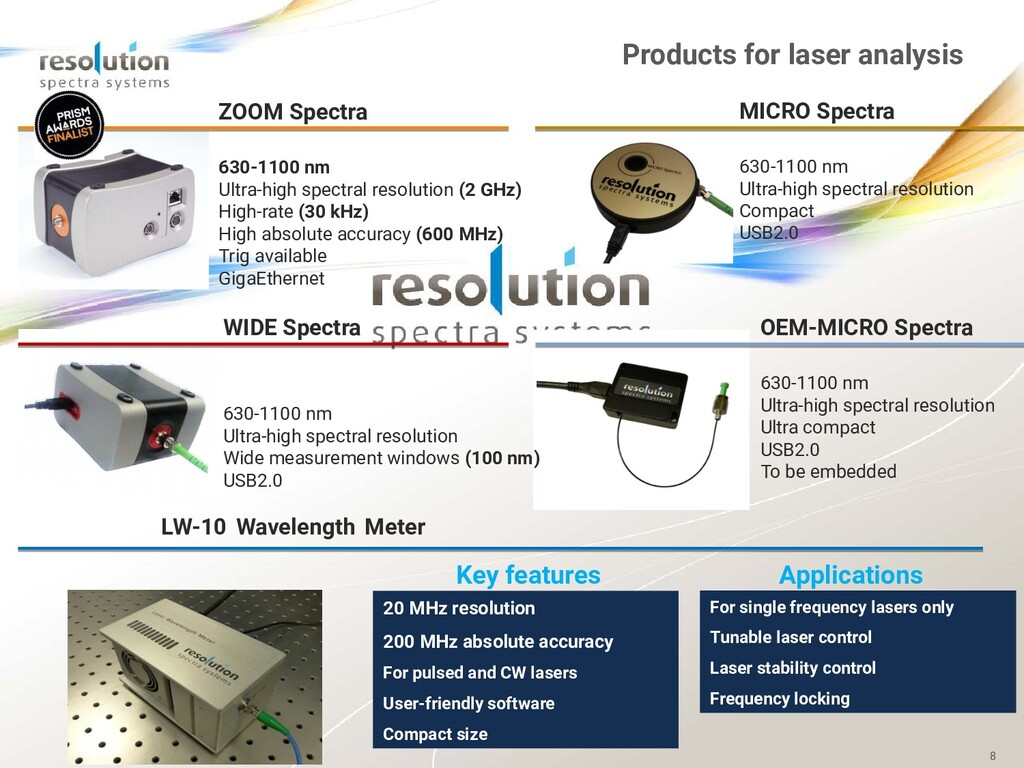 8 Products for laser analysis ZOOM Spectra 630-...