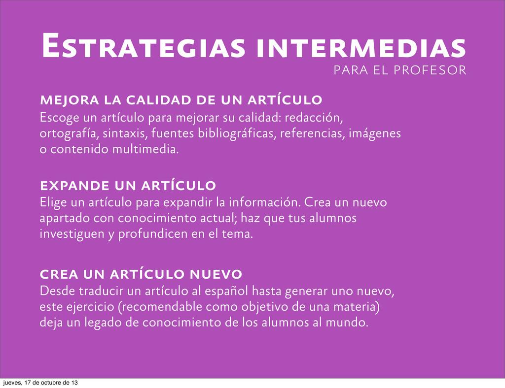 Estrategias intermedias mejora la calidad de un...