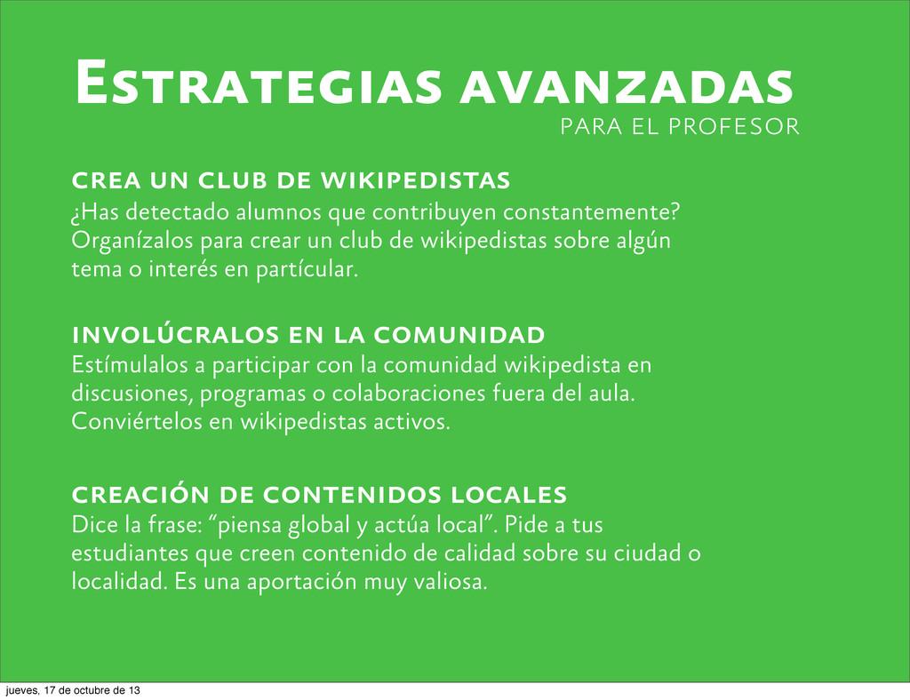 Estrategias avanzadas crea un club de wikipedis...