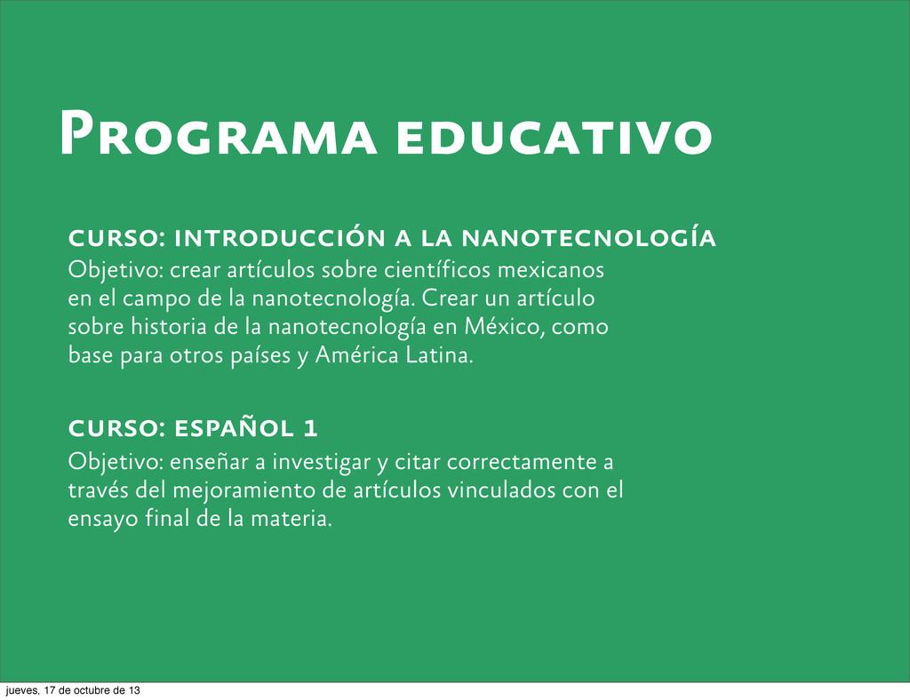 Programa educativo curso: introducción a la nan...
