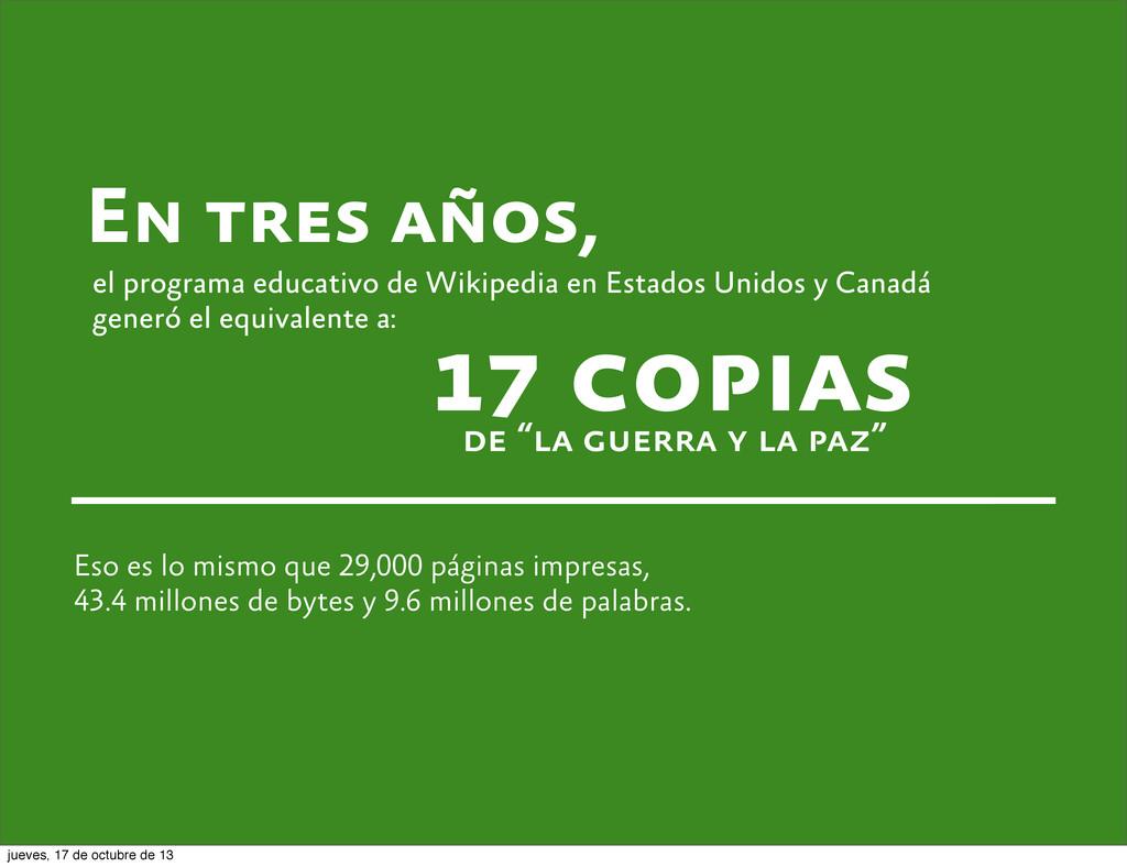 En tres años, el programa educativo de Wikipedi...