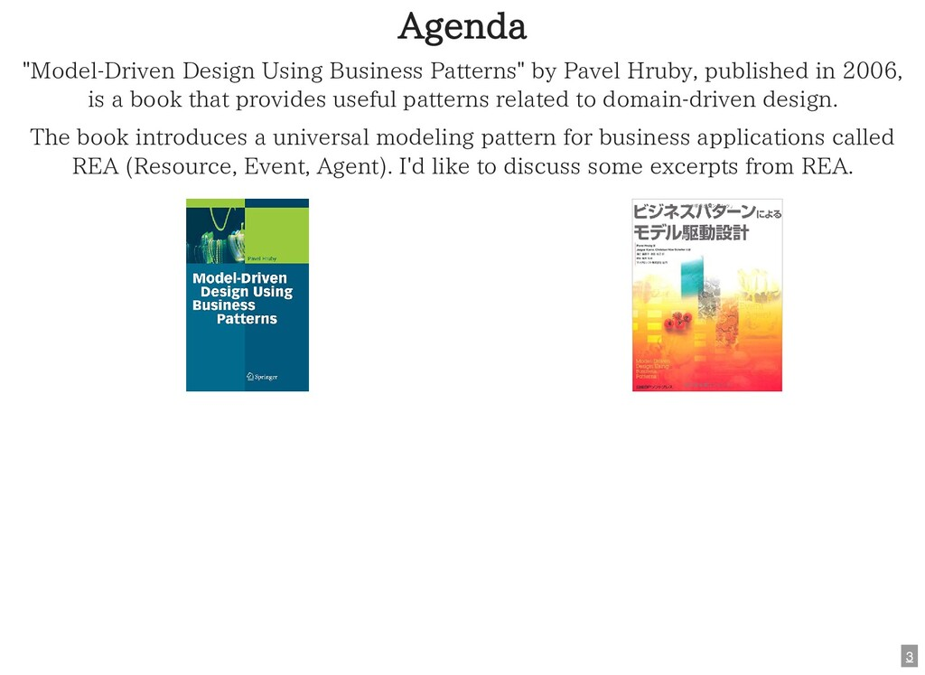 "Agenda ""Model-Driven Design Using Business Patt..."