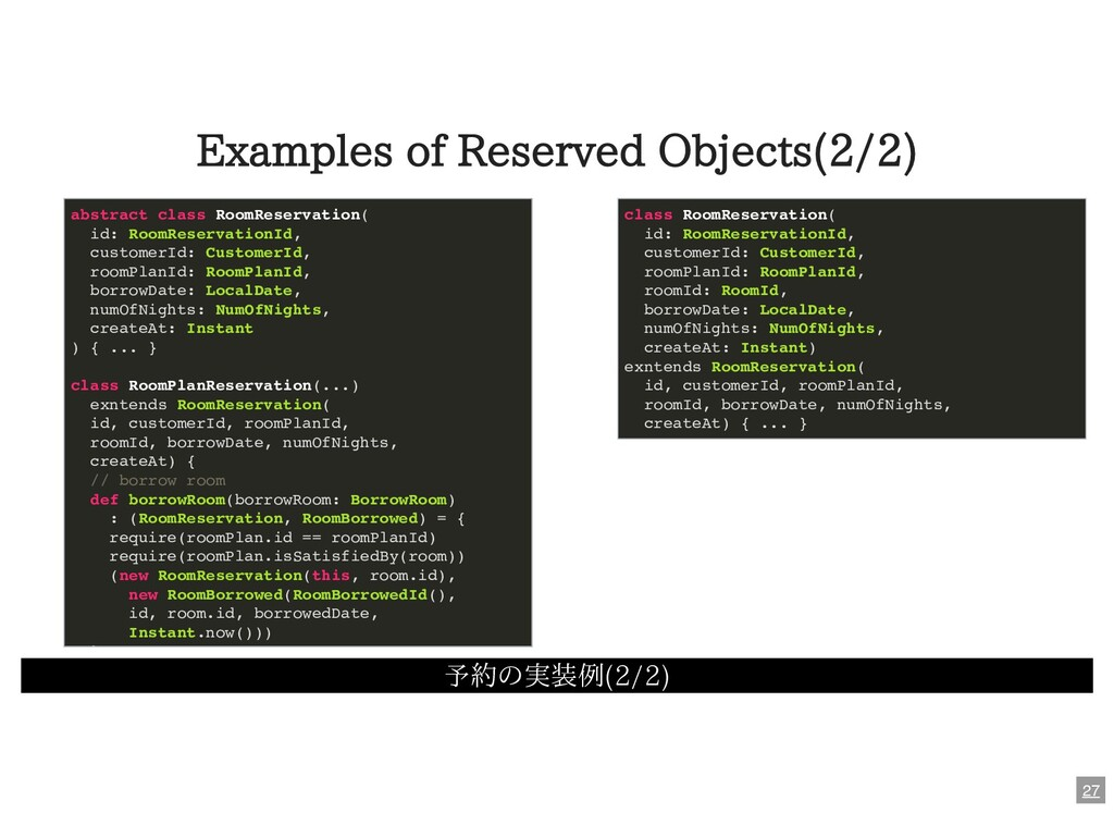 Examples of Reserved Objects(2/2) 予約の実装例(2/2) a...