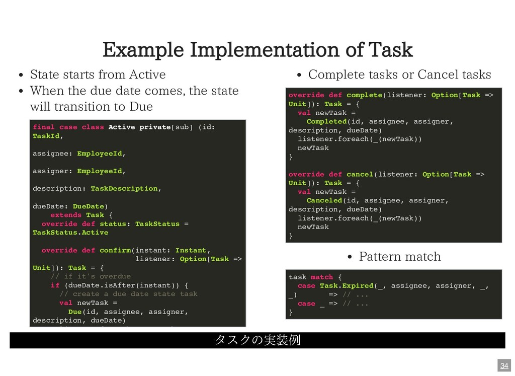 Example Implementation of Task タスクの実装例 State st...