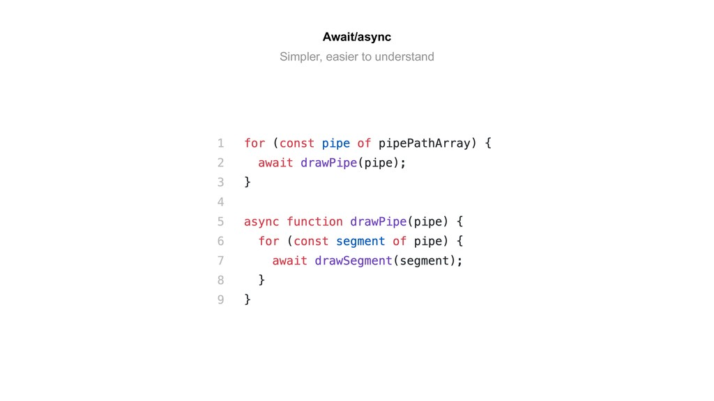 Await/async Simpler, easier to understand