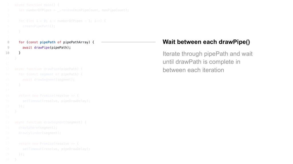 Wait between each drawPipe() Iterate through pi...