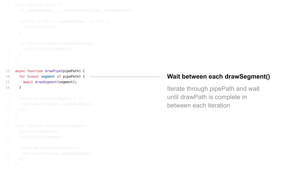Wait between each drawSegment() Iterate through...