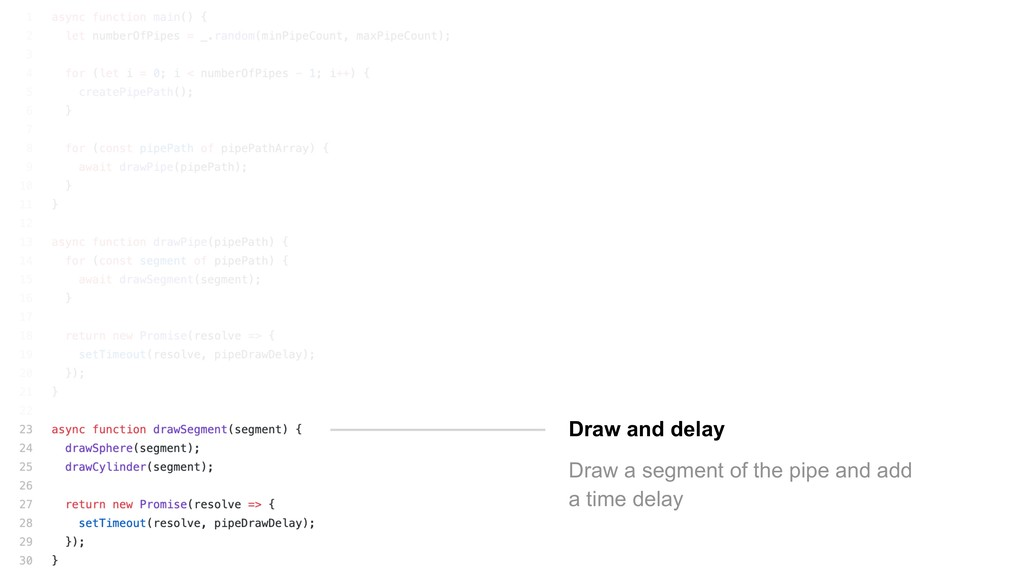 Draw and delay Draw a segment of the pipe and a...