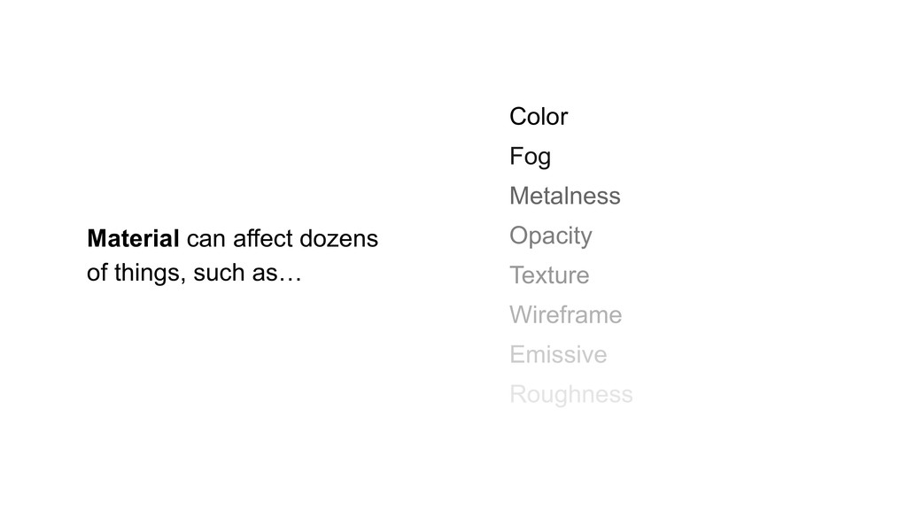 Color Fog Metalness Opacity Texture Wireframe E...