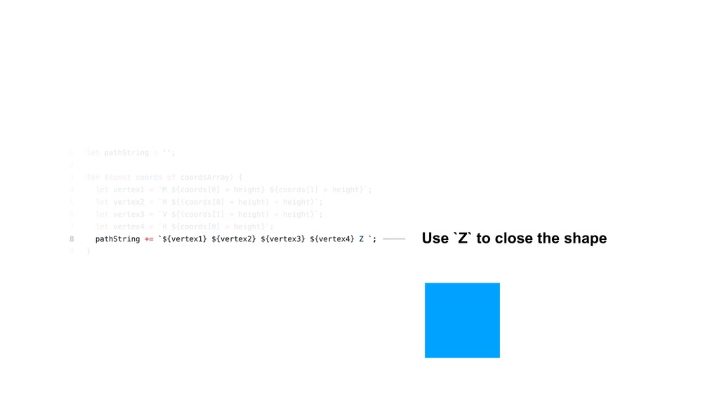 Use `Z` to close the shape