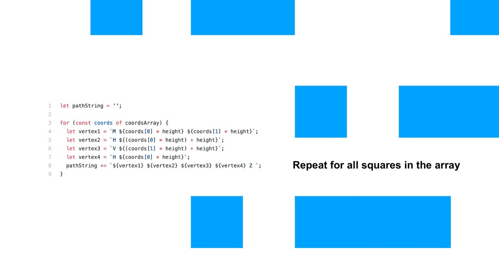 Repeat for all squares in the array
