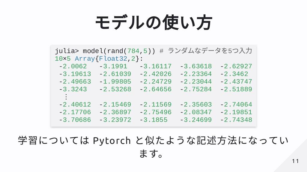 モデルの使い⽅ julia> model(rand(784,5)) # ランダムなデータを5 ...