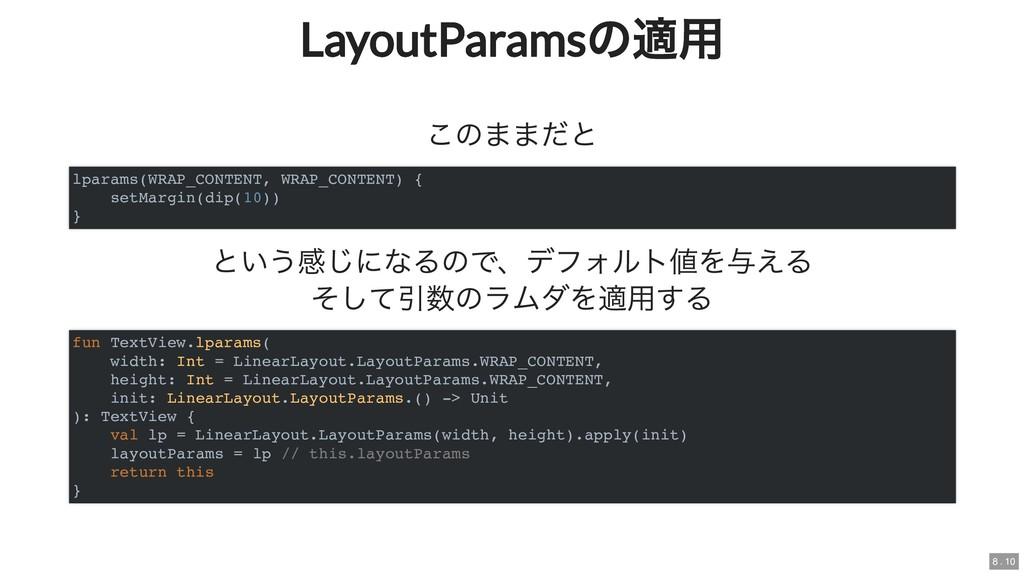 LayoutParams の適用 LayoutParams の適用 このままだと という感じに...