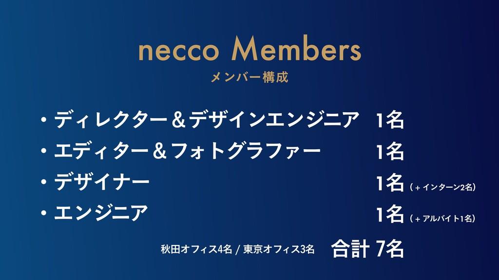 necco Members ϝϯόʔߏ ɾσΟϨΫλʔˍσβΠϯΤϯδχΞ ɾΤσΟλʔˍ...