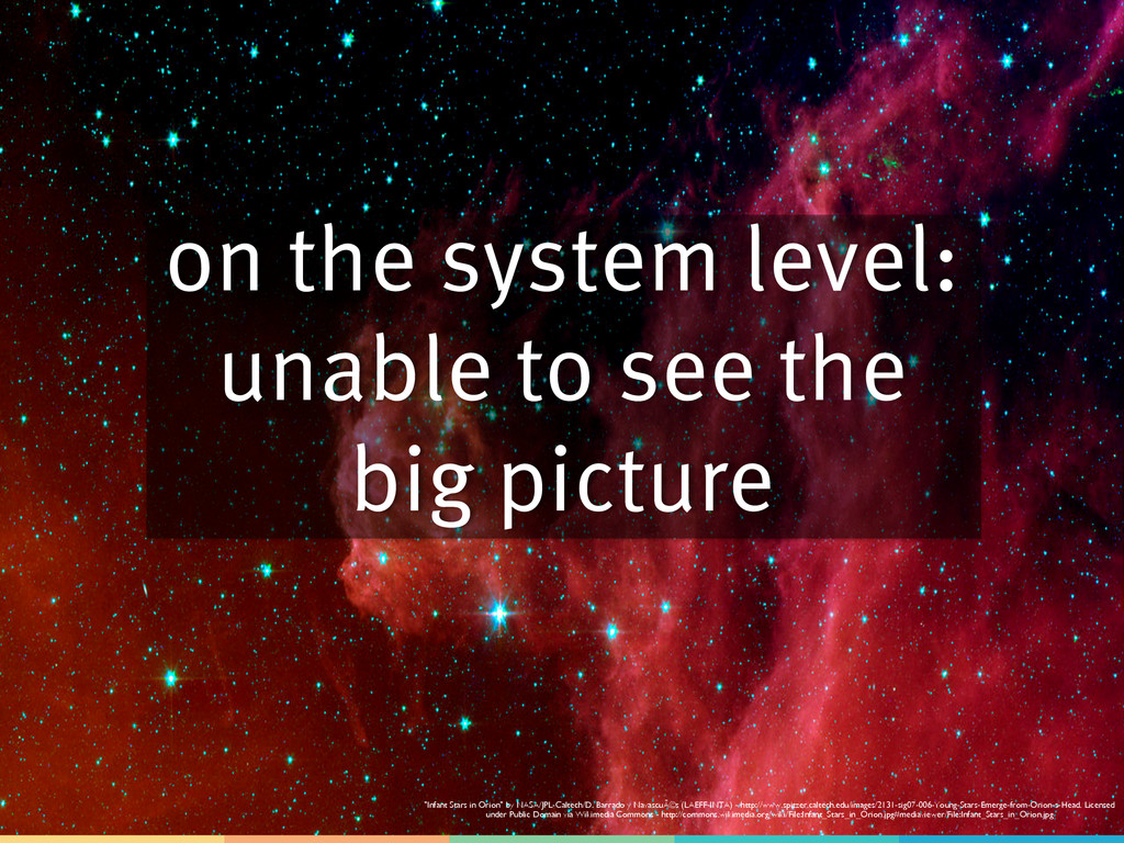 on the system level: unable to see the big pict...