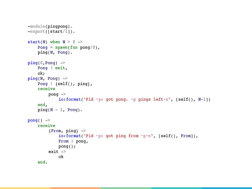 -module(pingpong). -export([start/1]). start(N)...