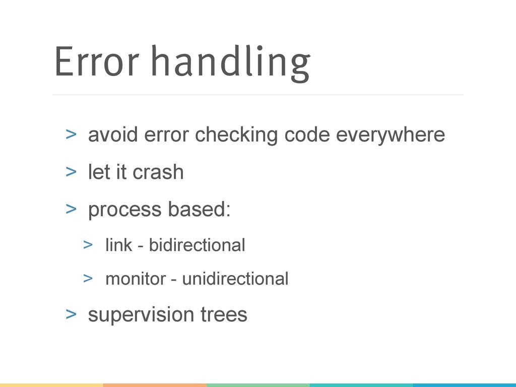 Error handling > avoid error checking code eve...