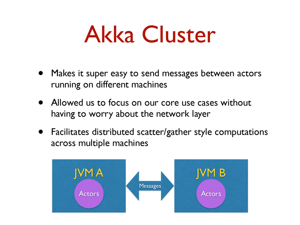 Akka Cluster • Makes it super easy to send mess...