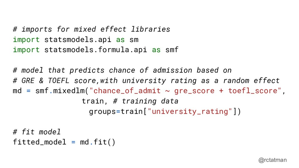 @rctatman # imports for mixed effect libraries ...