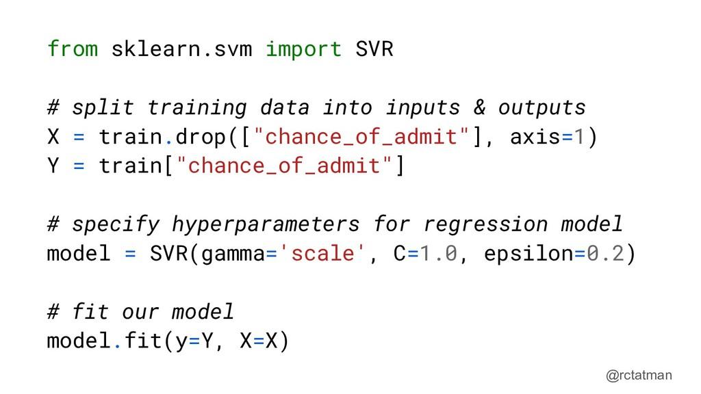@rctatman from sklearn.svm import SVR # split t...