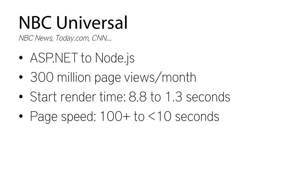 NBC Universal • ASP.NET to Node.js • 300 mill...