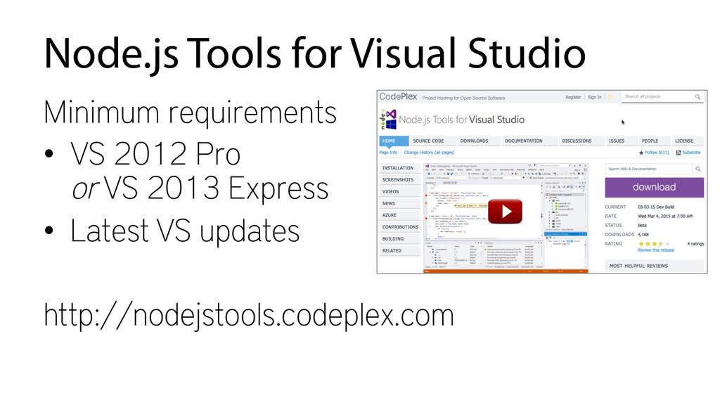 Node.js Tools for Visual Studio Minimum require...