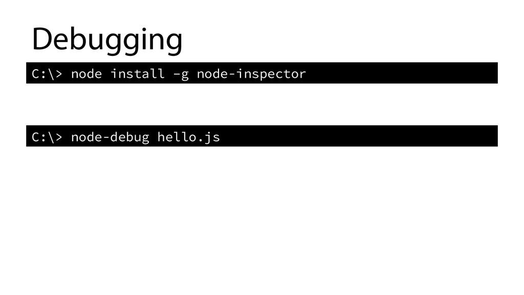 Debugging C:\> node install –g node-inspector...