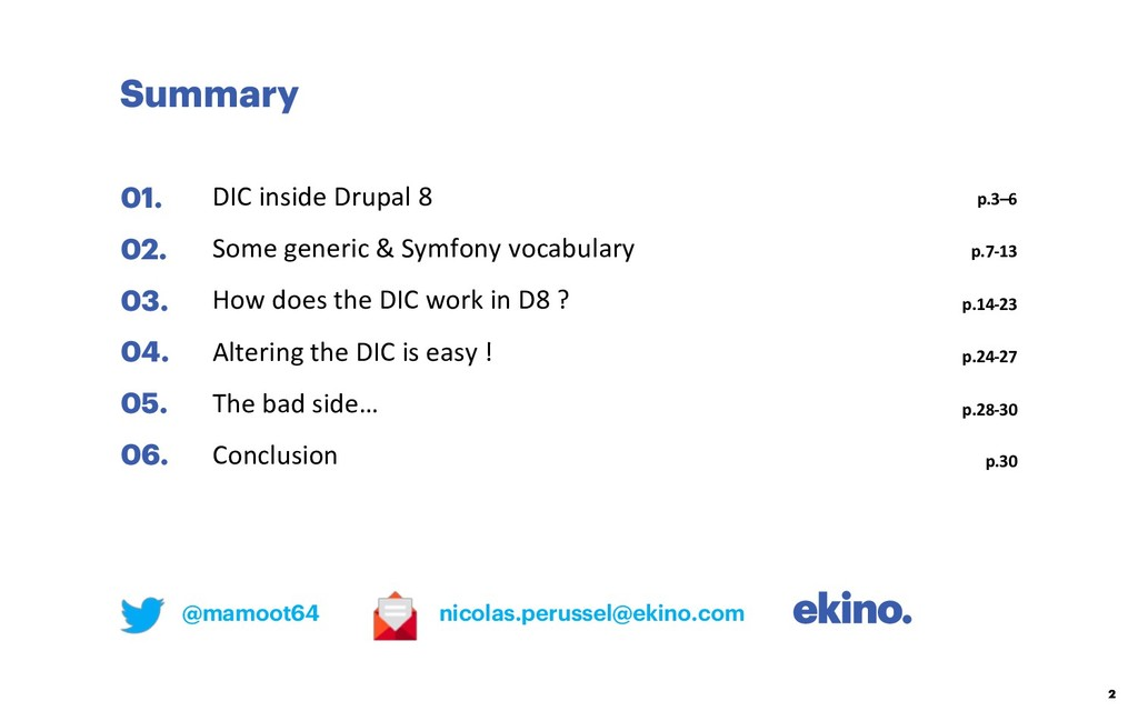 Summary 2 01. 02. 03. 04. 05. 06. DIC inside Dr...