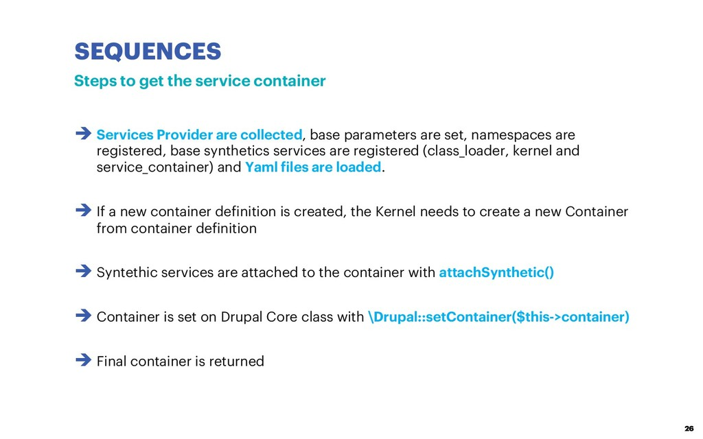 SEQUENCES 26 Steps to get the service container...