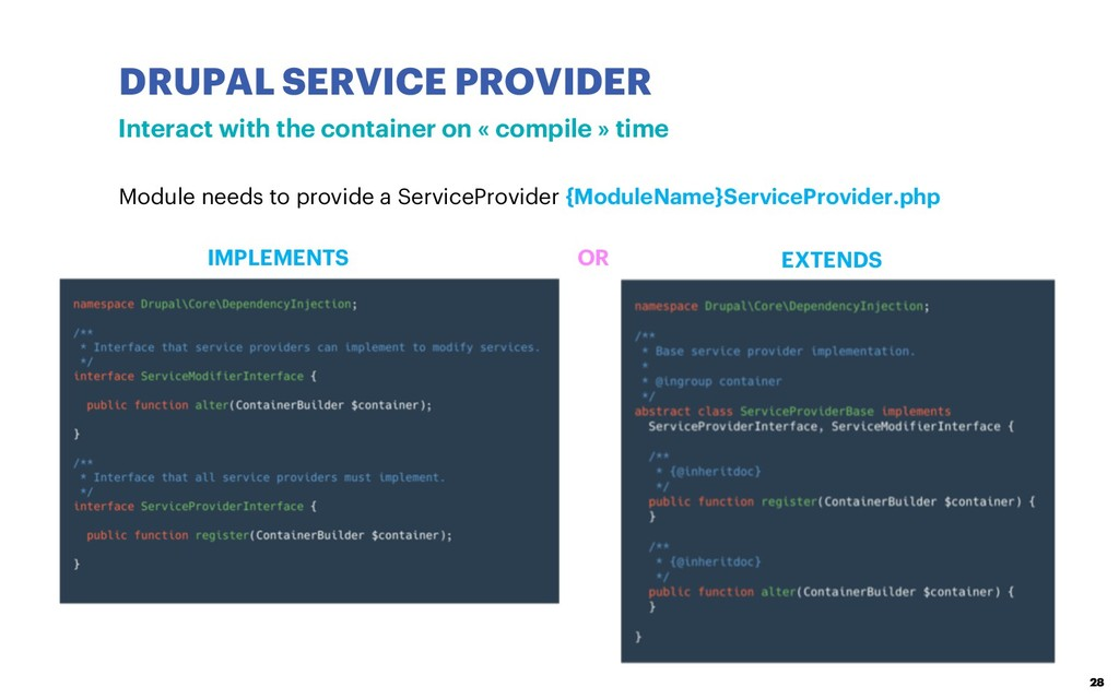 DRUPAL SERVICE PROVIDER 28 Interact with the co...