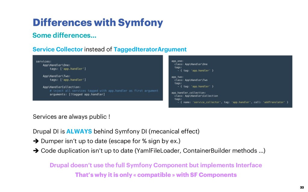 Differences with Symfony 33 Some differences… S...