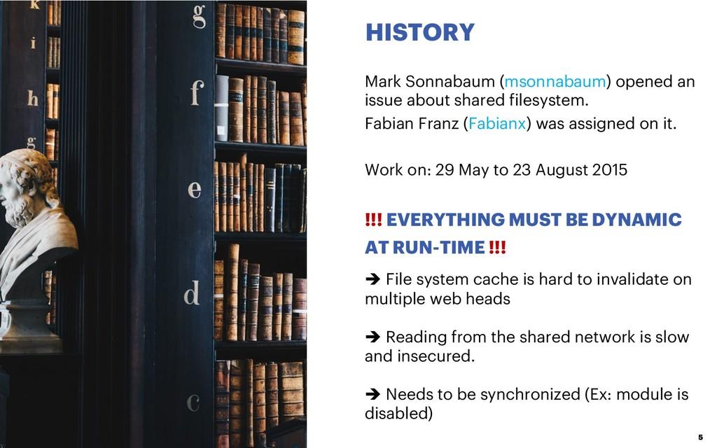 HISTORY 5 Mark Sonnabaum (msonnabaum) opened an...