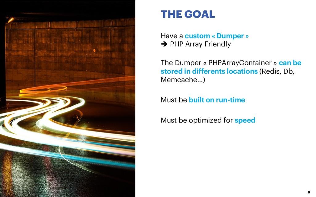 THE GOAL 6 Have a custom « Dumper » è PHP Array...