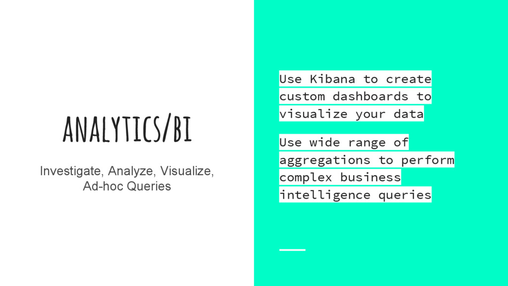 analytics/bi Investigate, Analyze, Visualize, A...