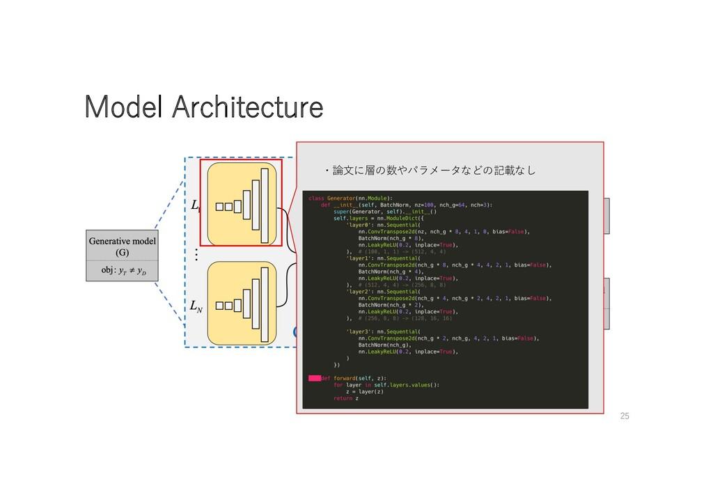 Model Architecture ・論⽂に層の数やパラメータなどの記載なし 25
