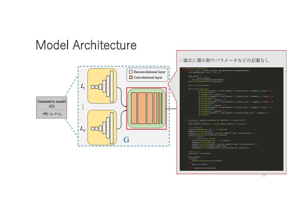 Model Architecture ・論⽂に層の数やパラメータなどの記載なし 26