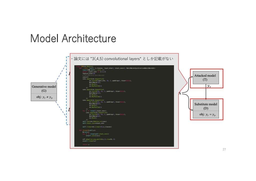 "Model Architecture ・論⽂には ""3(,4,5) convolutional..."