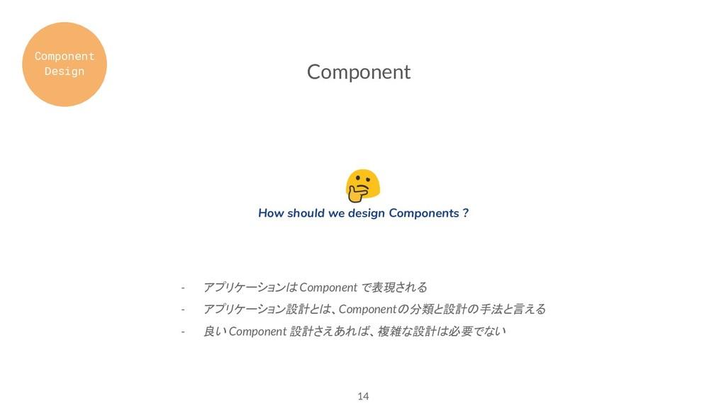 - アプリケーションは Component で表現される - アプリケーション設計とは、Com...