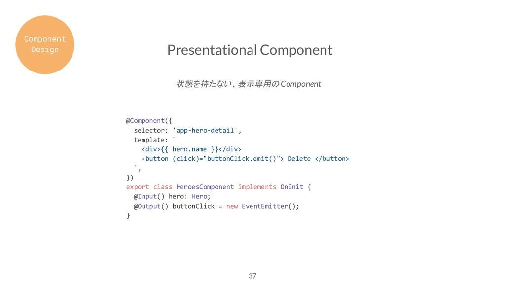 37 Presentational Component @Component({ select...