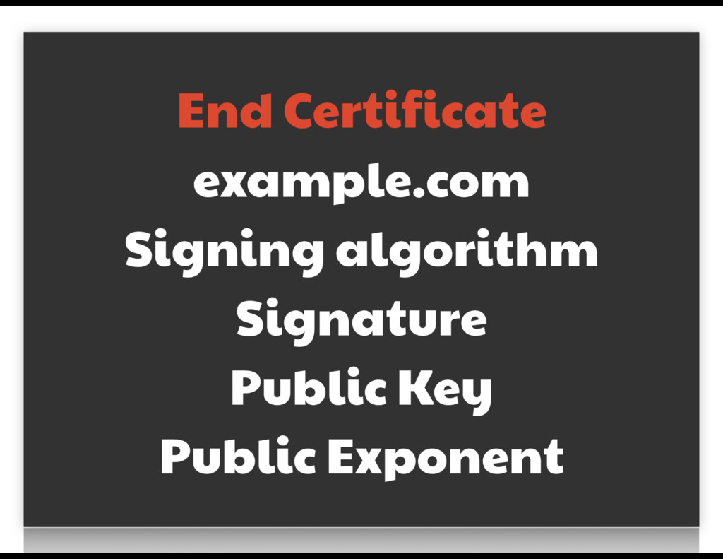 End Certificate  example.com  Signing algorithm...