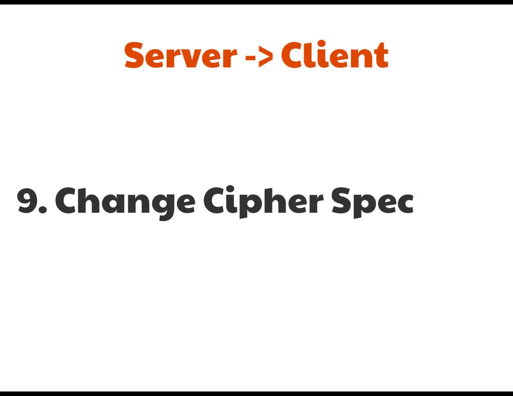 9. Change Cipher Spec Server -> Client