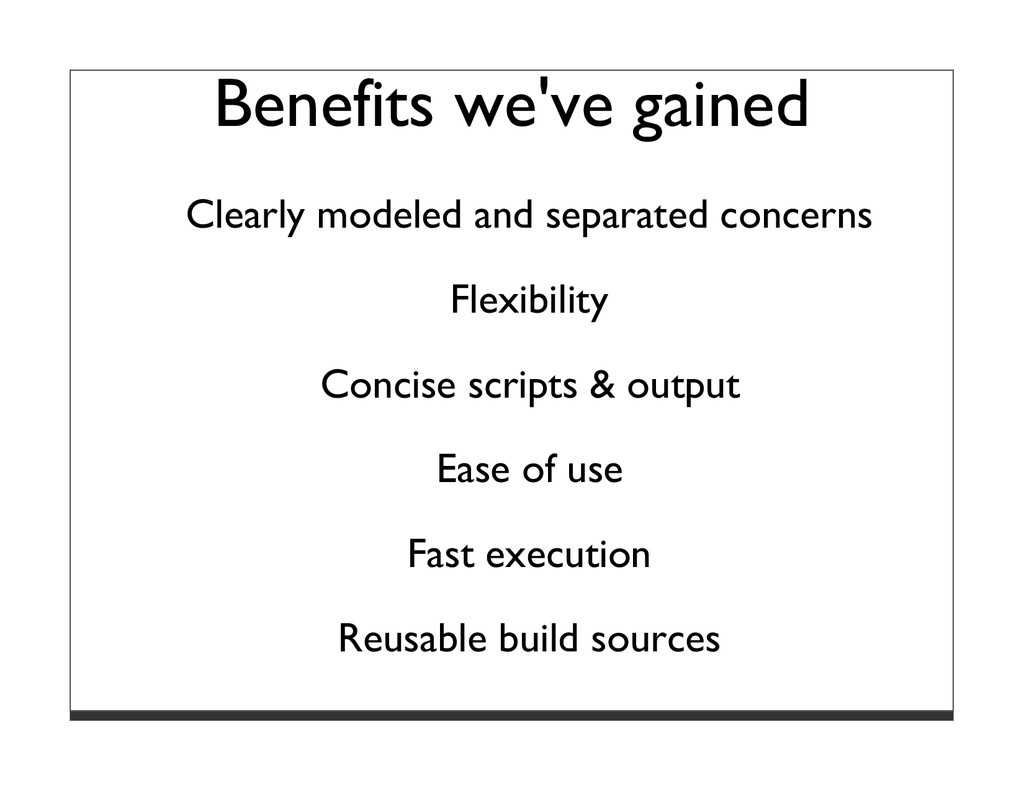 Benefits we've gained Clearly modeled and separ...