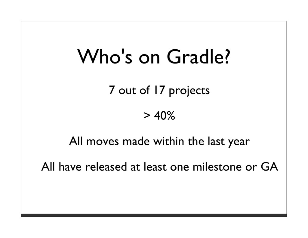Who's on Gradle? 7 out of 17 projects > 40% All...
