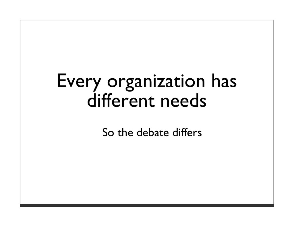 Every organization has different needs So the d...