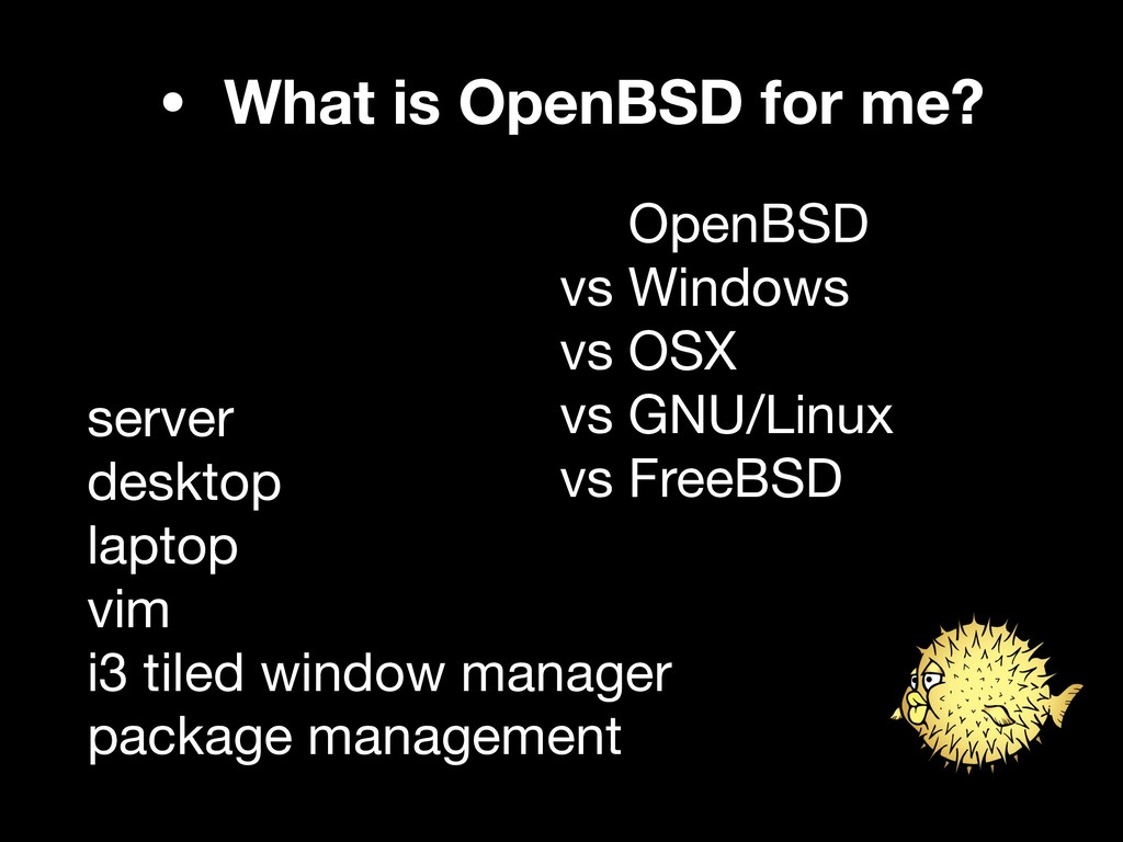 • What is OpenBSD for me? vs OpenBSD  vs Window...