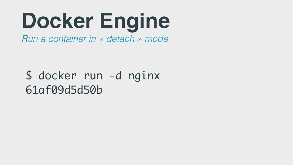 $ docker run -d nginx 61af09d5d50b Docker Engin...